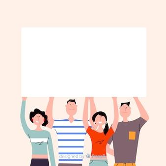 Jóvenes sosteniendo pancarta en blanco