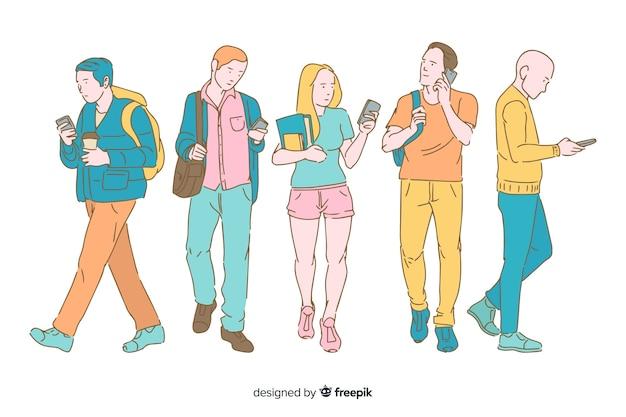 Jóvenes con teléfonos inteligentes en estilo de dibujo coreano