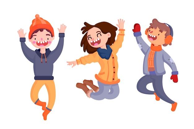 Jóvenes vistiendo ropa de invierno saltando pack de ilustración