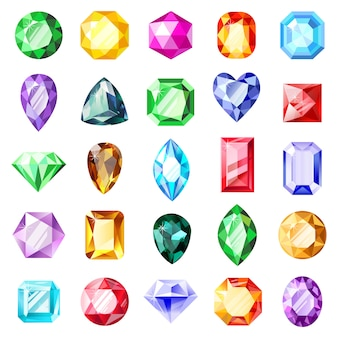 Joya de piedras preciosas. joyas de gemas de cristal, joya de diamantes, piedras preciosas, gemas brillantes de lujo. conjunto de iconos de ilustración de joyas de cristal. piedras preciosas de cristal, colección brillante de joyas
