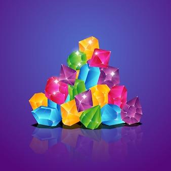 Las joyas se amontonan. diamantes de colores montón gemas pilas brillantes tesoro ilustración de dibujos animados