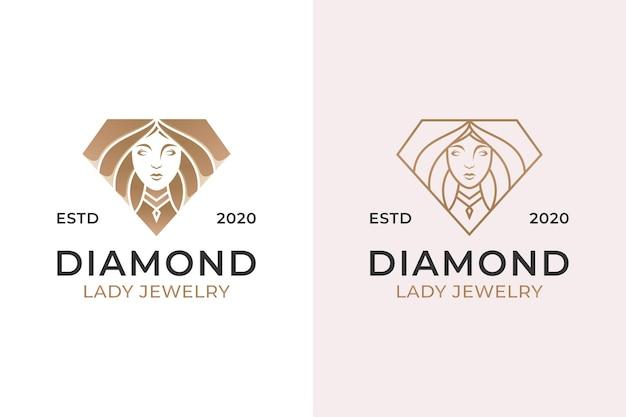 Joyas de diamantes con logo de mujer de belleza. lujo hermoso diamante y diseño de estilo de arte lineal