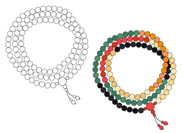 Joyas hechas a mano: rosario de cuentas de colores. ilustración aislada en un fondo blanco.