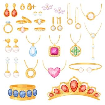 Joyas, joyas, pulsera de oro, collar, aretes y anillos de plata con accesorios de joyas de diamantes, conjunto de ilustración sobre fondo blanco
