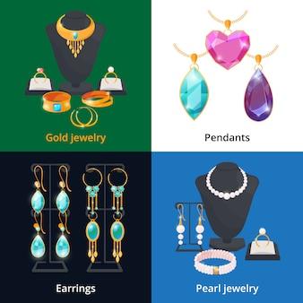 Joyería con diferentes accesorios de lujo. zafiro, diamante y pulsera dorada.