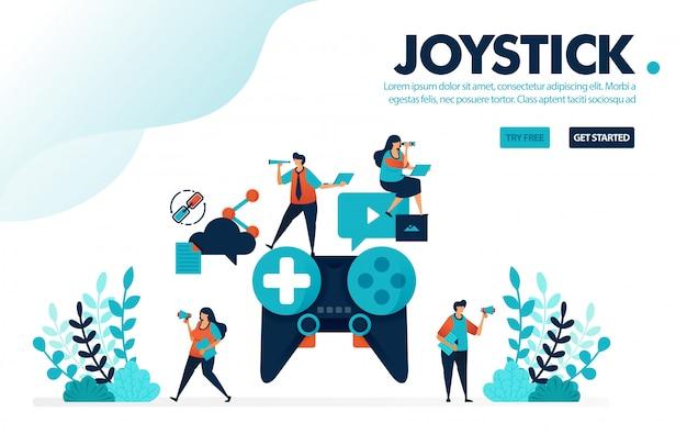 Joystick analógico, personas que juegan juegos para hacer trabajo en equipo y colaboración