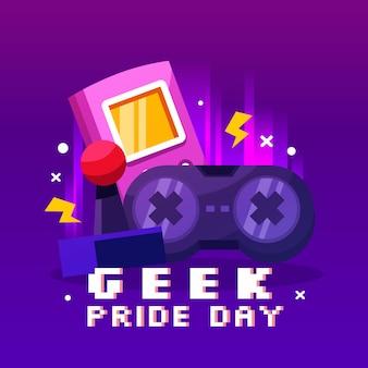 Joystick y controlador del día del orgullo geek