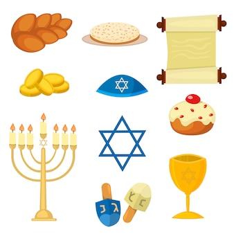 Judaísmo iglesia tradicional símbolos vector illustration