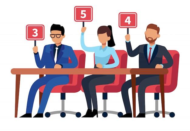 Jueces del jurado con cuadros de mando. prueba de personas muestran. jueces de competencia profesional, ilustración del jurado del juego de trivia
