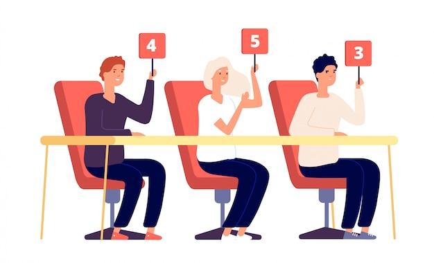 Jueces del jurado. personas con tarjeta de puntuación con números, competencia de demostración de evaluación. veredicto de votación, concepto de vector de calificación de concurso de jurado