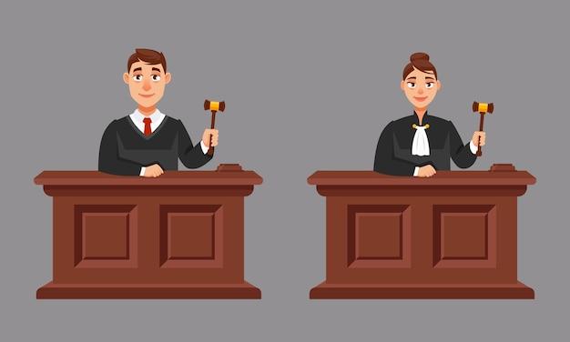 Jueces masculinos y femeninos en estilo de dibujos animados. ilustración de proceso judicial.