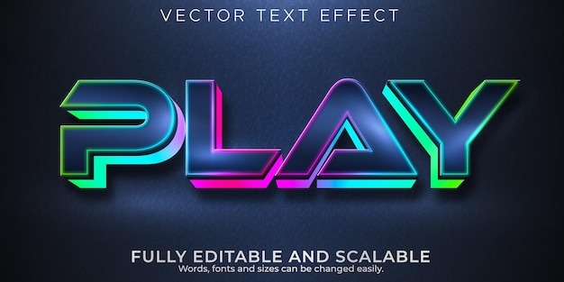 Juega efectos de texto editables de juegos, estilo de texto rgb y neón