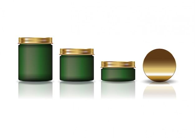 Juego de 3 tamaños de frasco redondo cosmético verde con tapa dorada para una belleza o un producto saludable.