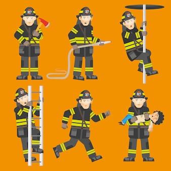 Juego de 6 figuras de bombero en acción.