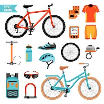 Juego de accesorios de ciclismo y bicicleta.