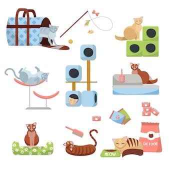 Juego de accesorios para gatos: rascador, casa, cama, comida, inodoro, zapatillas, portaequipajes y juguetes con 8 gatos.