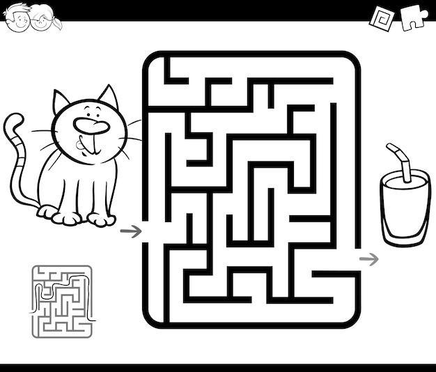 Juego de actividad de laberinto con gato y leche