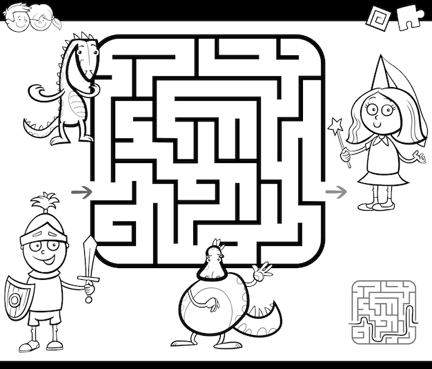 Juego de actividad de laberinto con personajes de fantasía