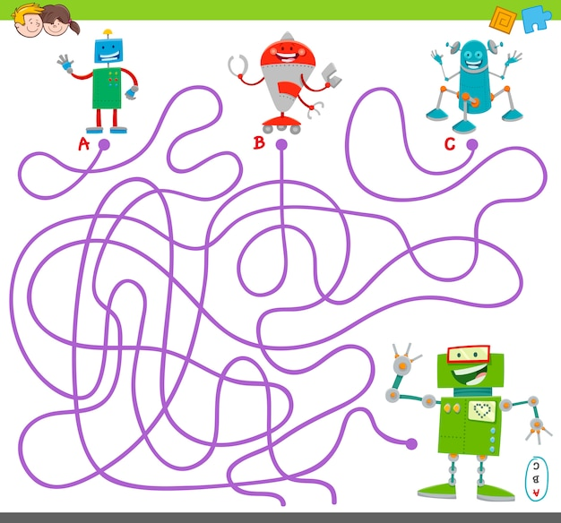 Juego de actividades con rompecabezas de laberinto con personajes de robots