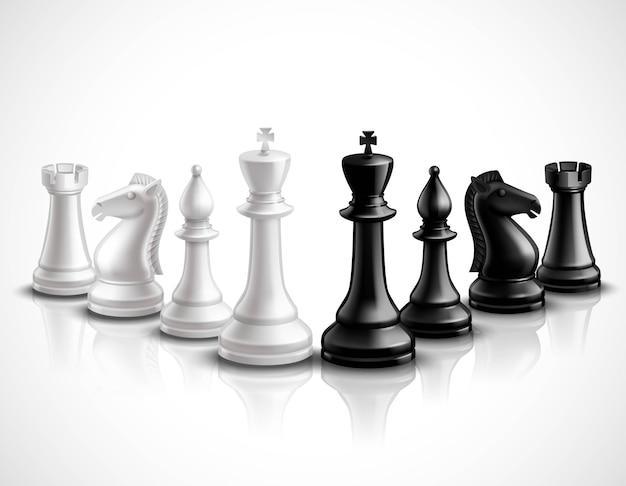 Juego de ajedrez realista piezas iconos 3d conjunto con reflexión