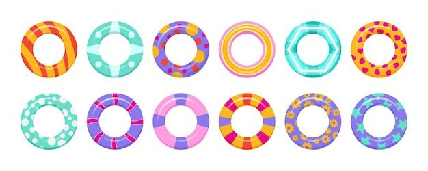 Juego de anillos de goma para nadar, diversión en el mar y seguridad.