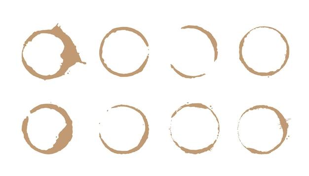 Juego de anillos para manchas de café. ilustración vectorial. sello de mancha de bebida con forma redonda y elemento de salpicadura. efecto de círculo inferior de taza de café.