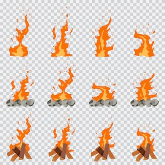 Juego de animación de efecto de fuego conjunto de dibujos animados aislado en transparente.