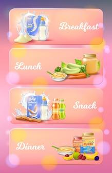 Juego de anuncios de comida para bebés, desayuno, almuerzo, snack, cena