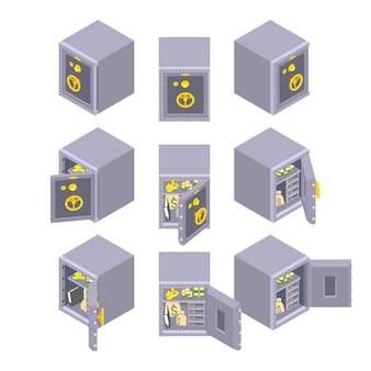 El juego de los armarios de metal seguros.