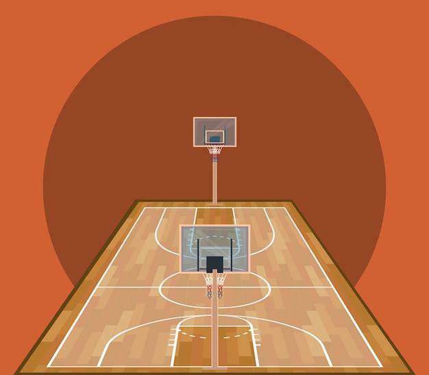 Juego de baloncesto cancha de madera deportiva.