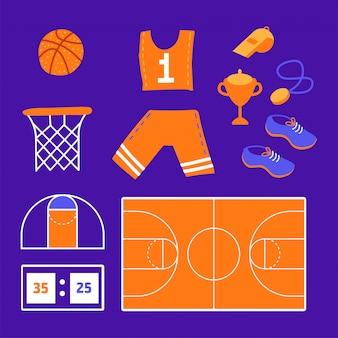 Juego de baloncesto elementos planos relacionados con el deporte: pelota, ropa deportiva, calzado deportivo, copa de ganador