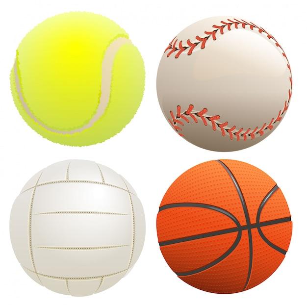 Juego de balones deportivos. pelota de tenis, baloncesto, voleibol, béisbol.
