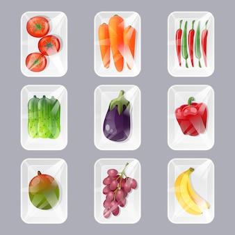 Juego de bandejas de plástico con frutas y verduras frescas con envoltura de película transparente en estilo de dibujos animados