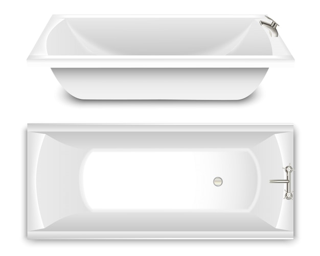 Un juego de bañera en forma de cuenco. vista superior y lateral.