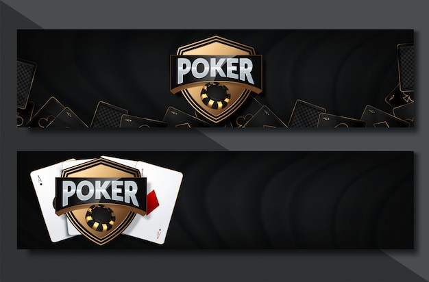 Juego de banner horizontal de poker casino