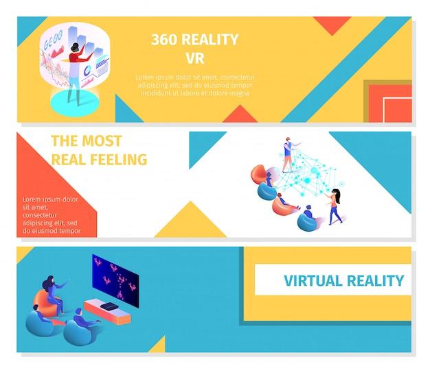 Juego de banners de personas que juegan 360 juegos virtuales