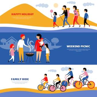 Juego de banners de picnic 3 para vacaciones familiares