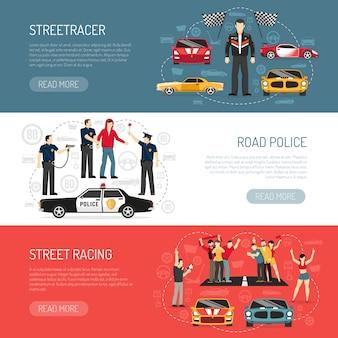 Juego de banners planos horizontales de street racing