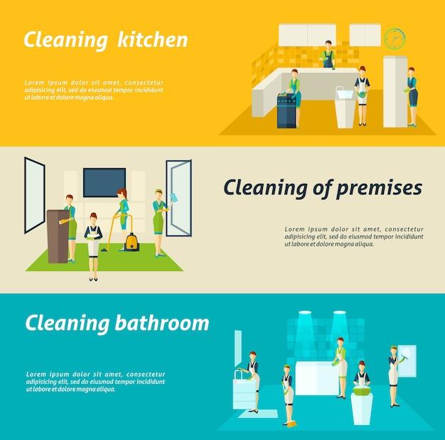 Juego de banners planos de limpieza en habitaciones