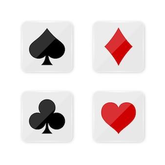 Juego de baraja de cartas en botones cuadrados.