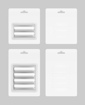 Juego de baterías en blíster blanco empacado