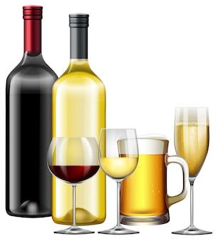 Un juego de bebidas alcohólicas