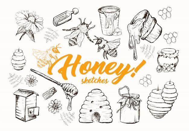 Juego de bocetos de miel, colmena, tarro de miel, barril, cuchara dibujada a mano