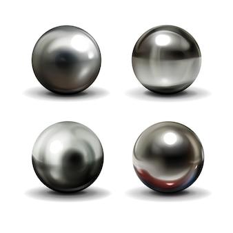 Juego de bolas de acero o plata con sombras desde abajo.