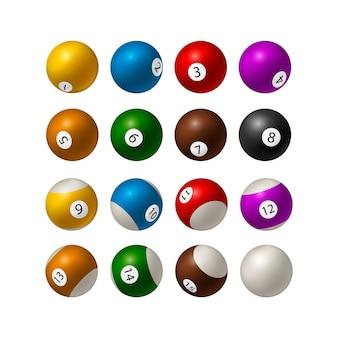 Juego de bolas de billar sobre fondo blanco. ilustración