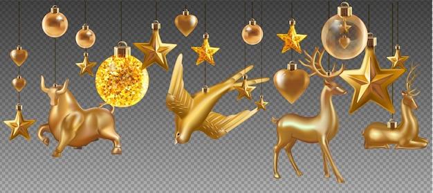 Juego de bolas y juguetes de navidad aislado sobre fondo transparente. juguete navideño de vacaciones para abeto. ilustración.