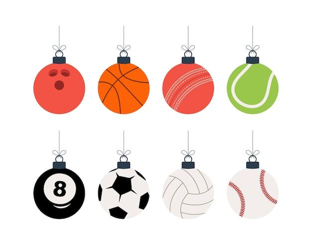 Juego de bolas de navidad deportivas.