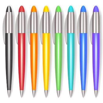 Juego de bolígrafos de colores realistas. herramienta de office.