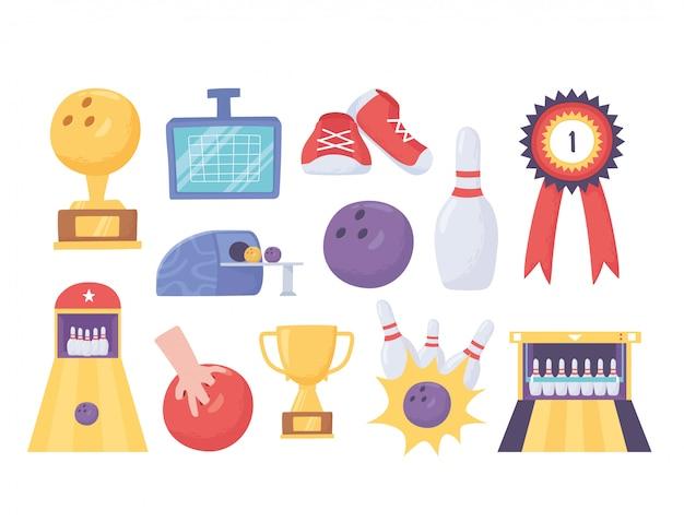 Juego de bolos trofeo medalla pasadores de callejón puntuación iconos diseño plano ilustración vectorial