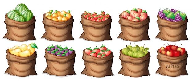 Juego de bolsas de frutas.